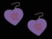 "HEART ""LOVE YOU"" EARRINGS - HUGE Valentine's Day Novelty Conversation Hearts Love Jewelry"