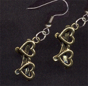 HEART EYEGLASS CHARM EARRINGS -GOLD-tone Pewter Love Charm Jewelry