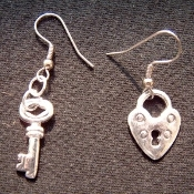 Silver-tone HEART LOCK & KEY EARRINGS - Mini Pewter Metal Charm Jewelry