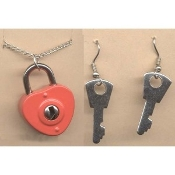 "HEART LOCK PENDANT NECKLACE & KEY EARRINGS - SET - Valentine's Day Jewelry - *Genuine Lock & Keys Really Unlock Your Heart! Great ""BEST FRIEND"" Gift SET."