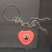 HEART LOCK & KEYS KEYCHAIN - RED Enameled Metal Best Friends Gift