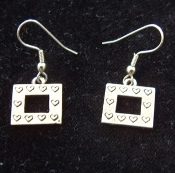 Vintage-style HEART PICTURE FRAME EARRINGS - Mini Pewter Charm - Valentines Day Love Gift Jewelry