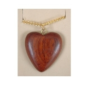 HEART VINTAGE WOOD PENDANT NECKLACE-Retro Hippy Charm Jewelry-LG