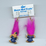 Tiny HONOR ROLL TROLL EARRINGS - Mini Teacher Graduation Blue Cap Gown Jewelry -MAGENTA Hair