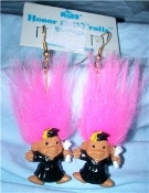 Mini collectible Graduate HONOR ROLL TROLL DOLL EARRINGS - Tiny retro funky punk Teacher Graduation novelty costume jewelry - PINK Hair - Miniature vintage Russ Berrie retired little lucky charm in BLACK Cap and Gown.