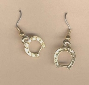 HORSESHOE SHOES EARRINGS - Lucky Casino Gambling Equestrian Horse Shoe Jewelry - GOLD-tone