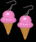 BIG Pink STRAWBERRY ICE CREAM CONE EARRINGS - Dairy Dessert Fast-Food Restaurant Jewelry