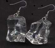 ICE CUBE EARRINGS - Melting Crystal Look - Party Bartender Waitress Novelty Jewelry - Looks Real!