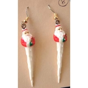 SANTA CLAUS ICICLES EARRINGS - Xmas Icicle Mini Resin Christmas Charm Jewelry