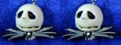 JACK SKELLINGTON DANGLE EARRINGS - Nightmare Before Christmas - Gothic Accessory -D- Halloween Zombie Skeleton Pirate Charm Headhunter Witch Doctor Skulls Costume Jewelry