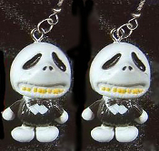 Stumpy JACK SKELLINGTON DANGLE FUNKY EARRINGS - Nightmare Before Christmas - Gothic Accessory Halloween Zombie Skeleton Pirate Charm Headhunter Witch Doctor Skulls Costume Jewelry