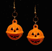 Happy Face JACK-O-LANTERN BELL EARRINGS - Enamel Halloween Pumpkin Trick-or-Treat Costume Party Jewelry