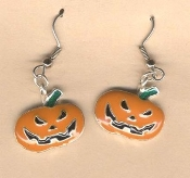SCARY JACK-O-LANTERN EARRINGS - Enamel Halloween Pumpkin Trick-or-Treat Costume Party Jewelry