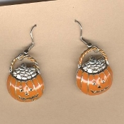 JACK-O-LANTERN-Treat BAG EARRINGS-Enamel Halloween Pumpkin Jewelry