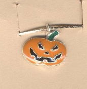 JACK-O-LANTERN PENDANT NECKLACE-Halloween Pumpkin Jewelry-SCARY