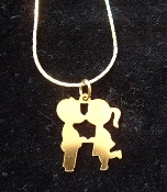 Classic Couple KISSING COUSINS PENDANT NECKLACE - Retro Gold-tone, Vintage metal love charms - Remember 'LOVE IS...'???