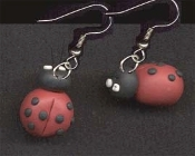 Clay Lucky LADY BUG EARRINGS - Ladybug Garden Insect Luck Charm Jewelry