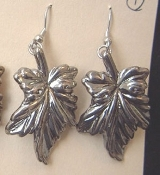 Huge Vintage LEAF LEAVES EARRINGS - Fall Autumn Tree Charm Jewelry - Antique SILVER