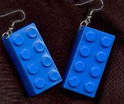 LEGO BRICK EARRINGS - HUGE Retro Toy Kitsch Charm Jewelry - BLUE