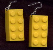 LEGO BRICK EARRINGS - HUGE Retro Building Block Toy Kitsch Charm Jewelry - YELLOW