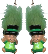 Big LEPRECHAUN TROLL GNOME EARRINGS - Irish St. Patrick's Day Lucky Charm Doll Jewelry -KELLY Green Hair