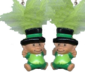 Mini collectible TROLL DOLL LEPRECHAUN EARRINGS - Big retro funky punk St Patrick's Day holiday novelty costume jewelry - LIME GREEN Hair - Miniature vintage Irish lucky charm toy gnome.