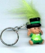 Big LEPRECHAUN TROLL GNOME KEYCHAIN - Irish Ireland Mini St. Patrick's Day Lucky Charm Doll Jewelry with LIME Green Hair