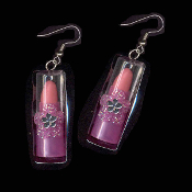 LIPSTICK TOY CHARM EARRINGS - Play Pretend Punk Fashion Doll Jewelry - PURPLE