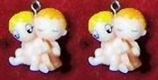 LOVE IS... KID COUPLE EARRINGS -I- Retro (60's-70's) Best Friends Cartoon Comic Charm Jewelry
