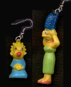 The Simpsons MARGE and MAGGIE EARRINGS-BIG Mini Figure Funny Dysfunctional TV Cartoon Family Character Theme Mismatched Costume Jewelry. Matt Groening inspired miniature funky novelty toy charm Mom Baby duo from Springfield. Great New Mommy gift!