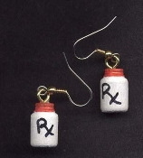 RX MEDICINE PILL PRESCRIPTION BOTTLE EARRINGS - Doctor Nurse HHA CNA Over-the-Hill Novelty Jewelry