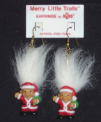 Mini collectible MERRY LITTLE SANTA TROLL DOLL EARRINGS - Tiny retro funky punk Christmas holiday novelty costume jewelry - WHITE Hair - Miniature vintage Russ Berrie retired little lucky charm toy gnome in red suit and cap.
