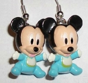 Adorable Miniature BABY MICKEY MOUSE CHARACTER EARRINGS - Retro Disney TV Cartoon Movie Jewelry