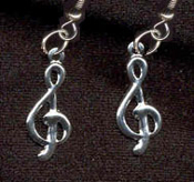TREBLE CLEF EARRINGS - Music Teacher Musical Note Musician Singer Jewelry - SILVER