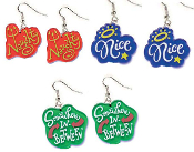 3-Pair Set: NAUGHTY / NICE / SOMEWHERE-in-BETWEEN EARRINGS - Big Funky Diva Princess Emo Biker Chick Charm Jewelry