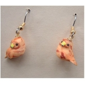 HOOT OWL EARRINGS - Night Hooter Nightime Forest Bird Tiny Spring Kaolin Mushroom Dimensional Charm Jewelry