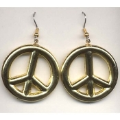 PEACE SIGN - SYMBOL EARRINGS - 60-70's Retro Hippie Jewelry - HUGE Gold Plastic