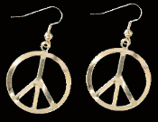 PEACE SIGN - SYMBOL EARRINGS - Vintage 60's-70's Retro Hippie DIY Jewelry -GOLD