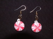PEPPERMINT STRIPE CANDY EARRINGS - Christmas Gift Charm Jewelry - Glitter
