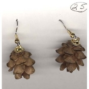 PINE CONE EARRINGS - Mini Christmas Cones Jewelry - Real GENUINE Miniature 3-Dimensional, detailed charm