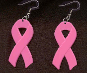 BREAST CANCER AWARENESS PINK RIBBON EARRINGS - HUGE Friend Family Support Medical Jewelry -DK