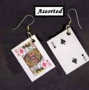 Funky Mini PLAYING CARDS EARRINGS - BlackJack Lucky Charm - Poker Luck Novelty Card Game Costume Jewelry. Plastic coated paper realistic miniature lucky charms. 1-pair chosen from assortment. Great gift for your favorite gambler!