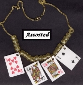 PLAYING CARDS NECKLACE-BlackJack Lucky Charm Poker Funky Jewelry