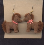 HUGE Funky FUZZY PONY EARRINGS - My Little Toy Horse Stable Costume Jewelry - BROWN Body with matching Mane and Tail. Big Flocked plastic mini figure toy charm. For equestrian lovers and cartoon character collectors alike!