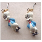 Funky Mini Figure PORKY PIG EARRINGS - Bugs Bunny Friend Looney Tunes Novelty Costume Jewelry - Favorite funny classic cartoon comics character animal theme dangle charm fully dimensional figurine.