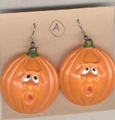 HUGE Funky Funny PUMPKIN JACK o LANTERN EARRINGS Spooky Oooooh Face Guy - Scary Fun Halloween Haunted House Novelty Charm Costume Jewelry - Style #A. Dimensional Front, Flat Hollow Back Classic ORANGE Color Plastic Charms.