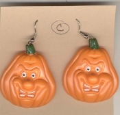 Scary PUMPKIN JACK-O-LANTERN EARRINGS - Nasty Monster Face - Creepy Gruesome Halloween Haunted House Novelty Costume Jewelry - Style #C - Dimensional Dangle Plastic Charms, each approx. 1.5-inch (3.75cm) diameter.