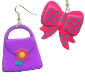 PURSE & BOW EARRINGS - Funky Beautician Shopping Mall Charm Jewelry