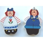 RAGGEDY ANN & ANDY BUTTONS EARRINGS - Rag Doll Painted Wood Jewelry