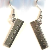 Funky Mini Pewter RULER EARRINGS - Tibetan silver-tone novelty charm costume jewelry. Great graduation gift for School Teacher, Principal, Secretary, Student, or anyone who wants to measure up!